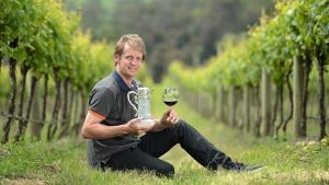 Yabby Lake Winery awarded Jimmy Watson  Memorial Trophy for its 2012 Pinot Noir. Winemaker Tom Carson with the prestigious trophy.