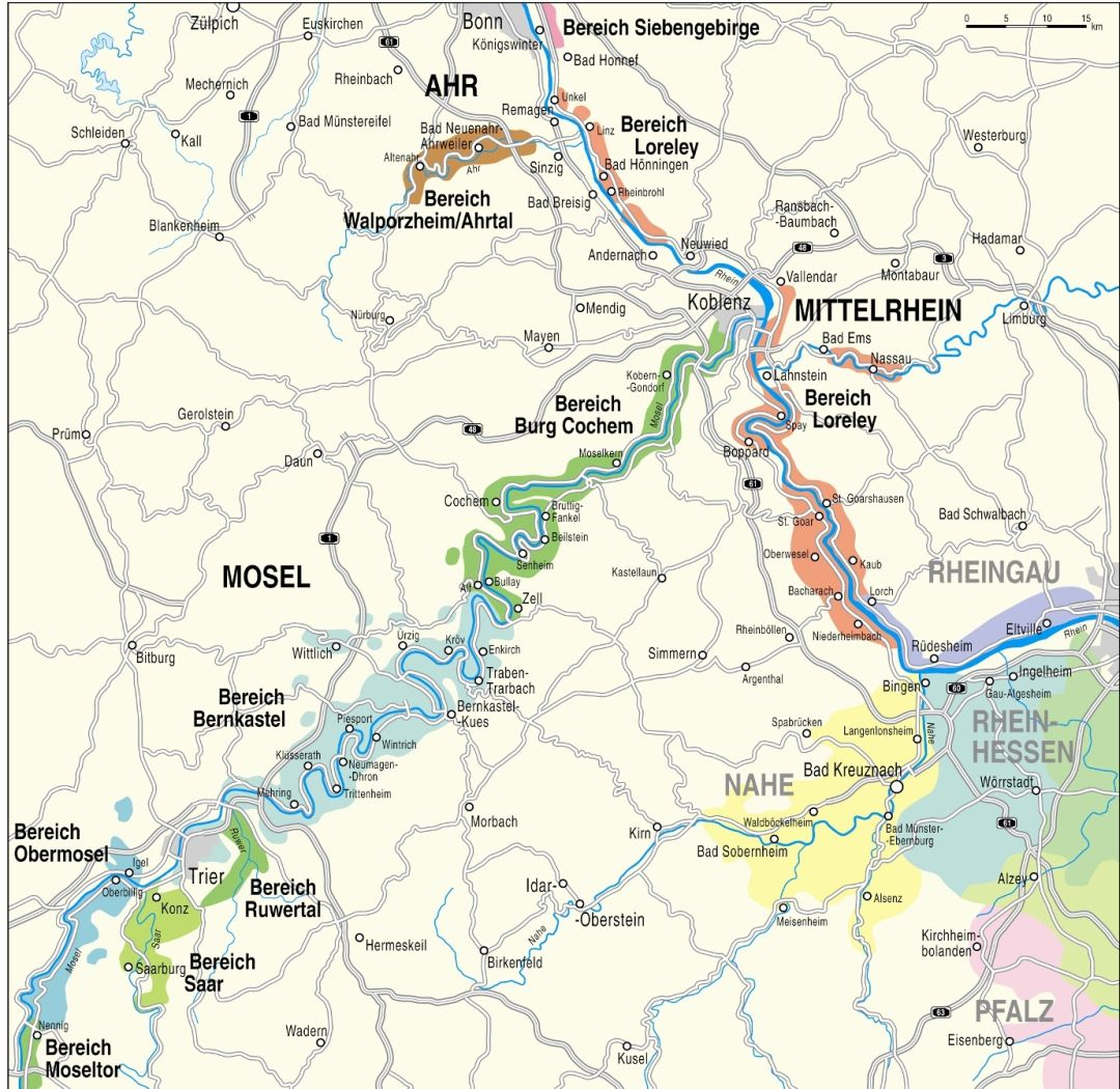 kaart Mittelrhein / Ahr