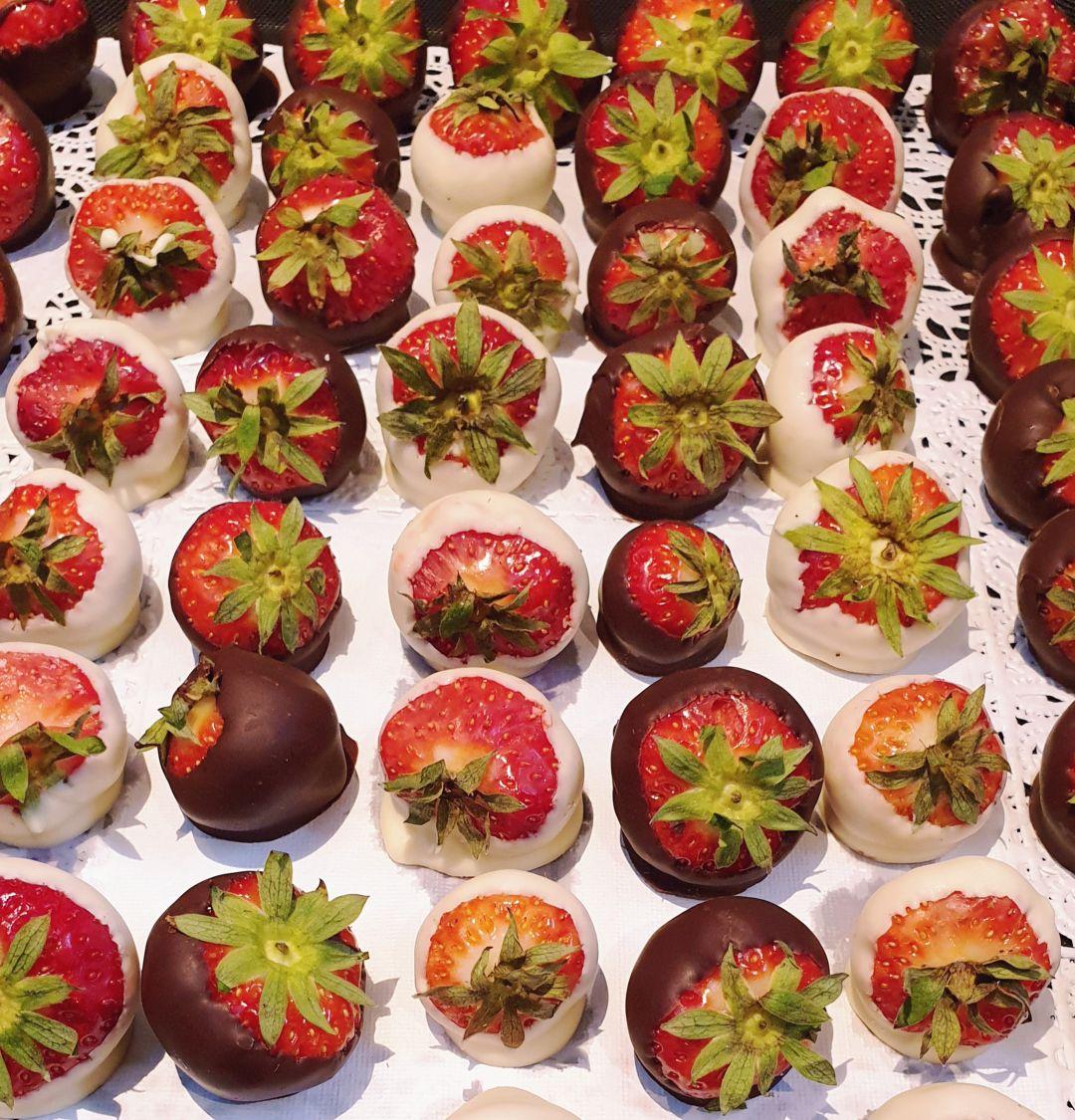 aardbeien met valrhona
