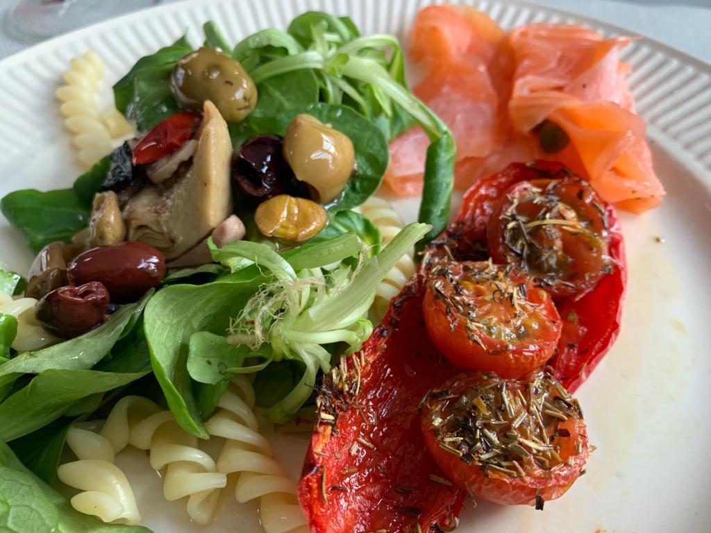 zalm en salade